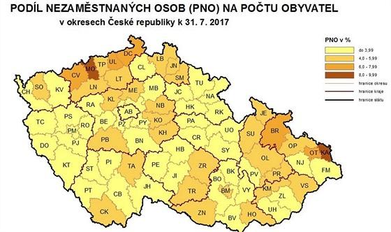 Mapa nezaměstnanosti v okresech - červenec 2017