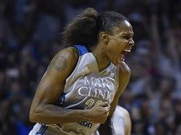 Rebekkah Brunsonová slaví titul Minnesoty v WNBA.