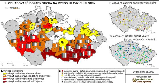 Mapa zachycuje hodnocení sucha od 116 zpravodajů z 53 okresů k 5. listopadu...