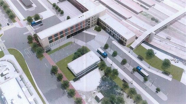 Takto by mohl v budoucnu vypadat prostor pro odjezdy meziměstskıch autobusů v sousedství činžovního domu.