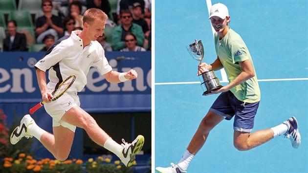 Petr Korda v radostném vıskoku na Australian Open v lednu 1998 a jeho syn Sebastian na stejném místě přesně o dvacet let později.
