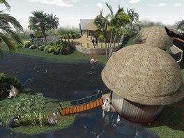 Vizualizace budoucí podoby africkıch mokřadů s vesnicí, které chce olomoucká...