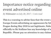 Sylvester Stallone na svıch stránkách popřel, že by s ním firma Europa Events o...