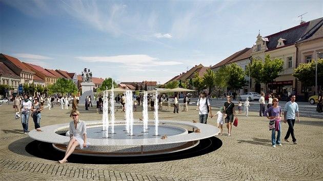 Takto by podle vizualizací mohlo po úpravě vypadat třebíčské Karlovo náměstí. Podoba kašny není konečná, v současné době se o ni soutěží.