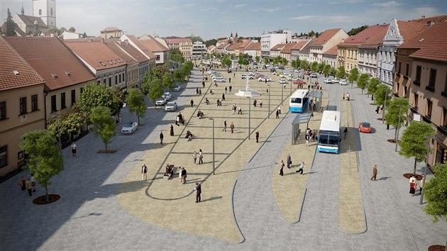 Takto by podle vizualizací mohlo po úpravě vypadat třebíčské Karlovo náměstí. Podoba kašny je pouze ilustrativní, nakonec v soutěži zvítězila jiná verze.