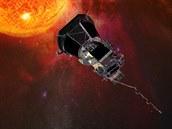 Ilustrace Parkerovy sluneční sondy ve vesmíru
