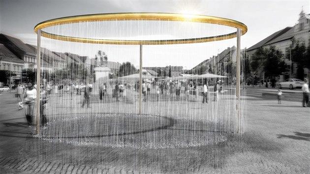 V architektonické soutěži na vıběr nové kašny na revitalizovaném Karlově náměstí v Třebíči zvítězil tento návrh z pražského atelieru H3T architekti. Bude stát asi 3,5 milionu korun.