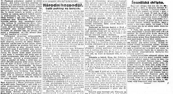 Španělská chřipka na stránkách Lidovıch novin v říjnu 1918