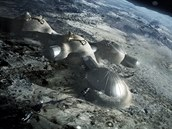 """Představa Evropské kosmické agentury, jak by mohla vypadat """"vesnice na měsíci""""...."""