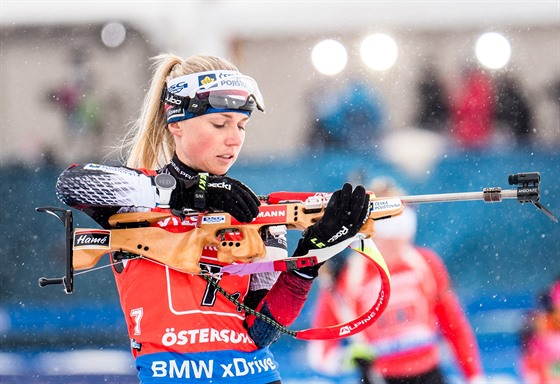 Eva Puskarčíková během prvního úseku ženské štafety na mistrovství světa v...