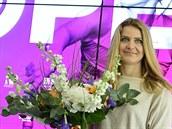 Lucie Šafářová na tiskové konferenci k tenisovému turnaji J&T Banka Prague Open.