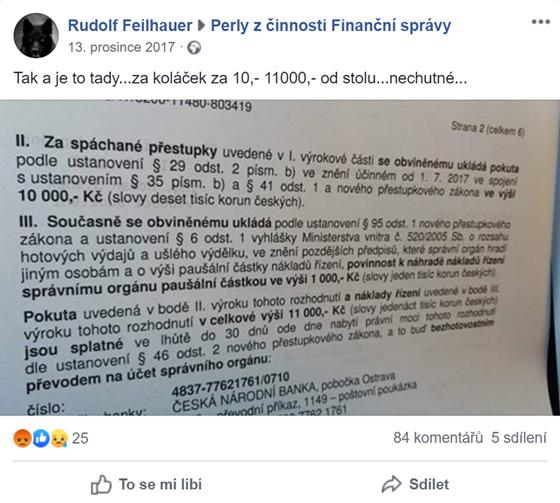 Facebookovı příspěvek ze skupiny pro Perly z činnosti Finanční správy