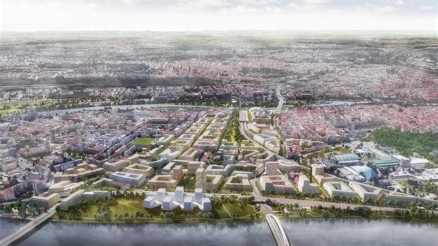 Nová čtvrť v Bubnech s jedenácti tisíci byty pro pětadvacet tisíc obyvatel. Pohle ze severu.