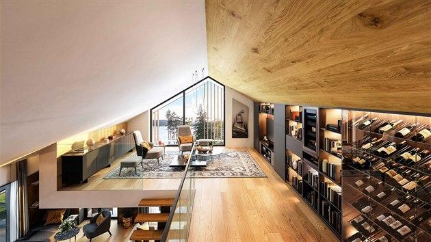 5kk podkrovní pokoj s výhledem na Lipno