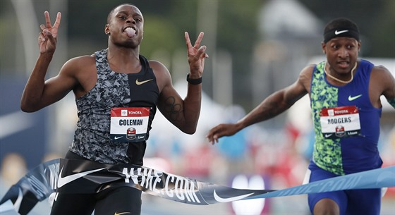 Christian Coleman slaví triumph in 100 meters on American championship.