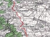 Mapa zaniklého úseku Kladensko-nučické horní dráhy