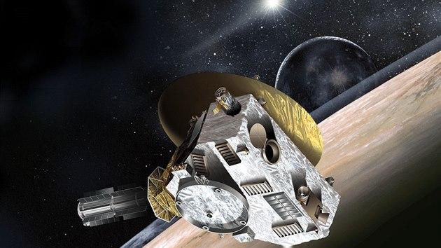 Sonda New Horizons nad Plutem v představě ilustrátora NASA
