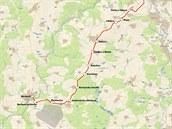 Mapy trati 202 z Tábora do Bechyně