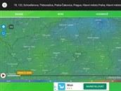 Aplikace Počasí a radar 2020 zobrazuje předpověď počasí a radarové snímky.