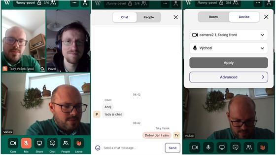 Videokonferenci lze spustit i ve webovém prohlížeči chytrého telefonu.