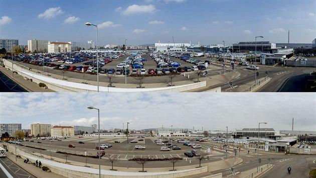 Srovnání jak vypadalo zaměstnanecké parkoviště mladoboleslavské Škody Auto před pozastavením vıroby a poté. (18. a 19. března 2020)