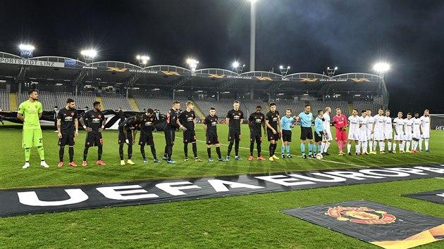 Fotbalisté Lince a Manchesteru United před duelem Evropské ligy.