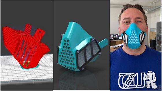 Rouška z 3D tiskárny od 3Dcentrun/ProLab/ČZU