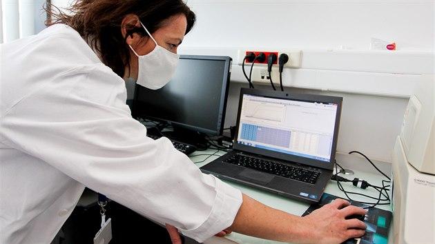 V Ústavu mikrobiologie olomoucké Fakultní nemocnice se každı den testují vzorky na koronavirus. Na snímku je odborná pracovnice Margita Bartková
