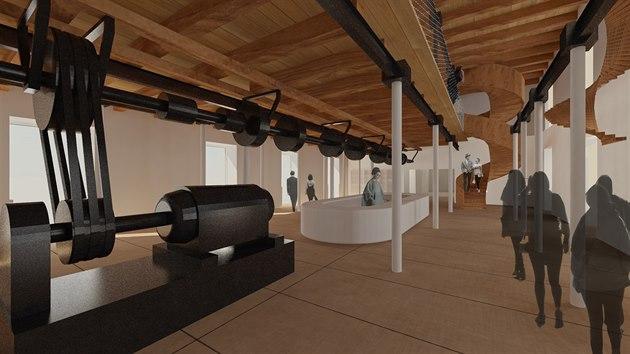 Architekti v části galerie nezapomněli na mlynářskou minulost stavby.