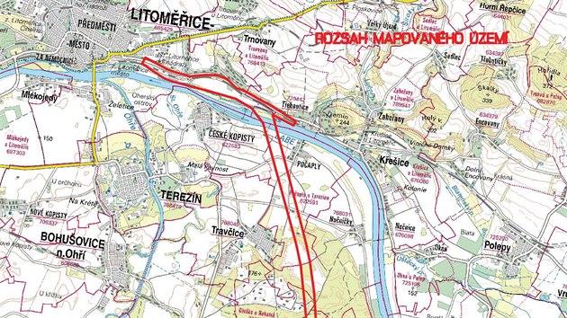Území, kde probíhá geodetickı průzkum.