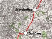 Mapa trati 257 z Mutěnic do Kyjova