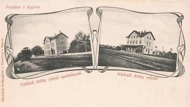 Obě kyjovská nádraží na dobové pohlednicisbírka Pavla KudláčeGPS: 49.0157511N, 17.1226464E