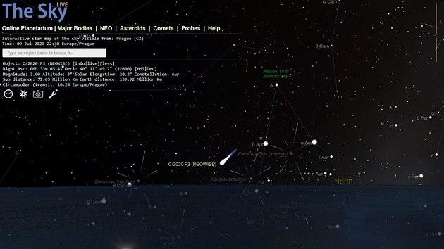 Poloha komety C/2020 F3 (Neowise) ve čtvrtek 9. 7. 2020 ve 22:30