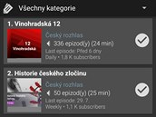 Podcast Addict obsahuje i rozsáhlou nabídku českıch podcastů.