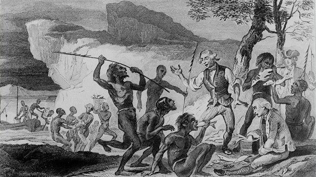 První plavba anglického navigátora Jamese Cooka. Námořníci se spolu s domorodci účastní rybolovu na řece Endeavour v Austrálii, rok 1770. Rytina z 19. století
