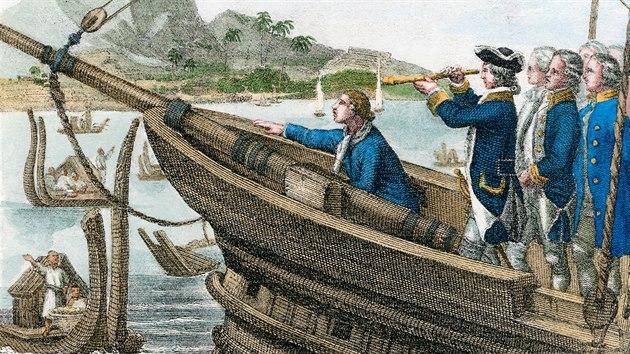 James Cook připlouvá na Tahiti
