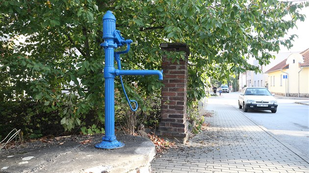 Ruční pumpy jsou nedílnou součástí havlíčkobrodského mobiliáře. Proto se o ně technické služby i příkladně starají. Ročně jich osm až deset opraví, loni je natřely vıraznou modrou barvou.