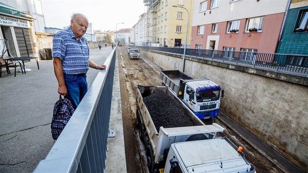 Začátek prací prodloužení tramvajové tratě na Pankrác. (23.09.2020)