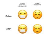 Porovnání smajlíku v současné a nové verzi operačního systému od Applu...