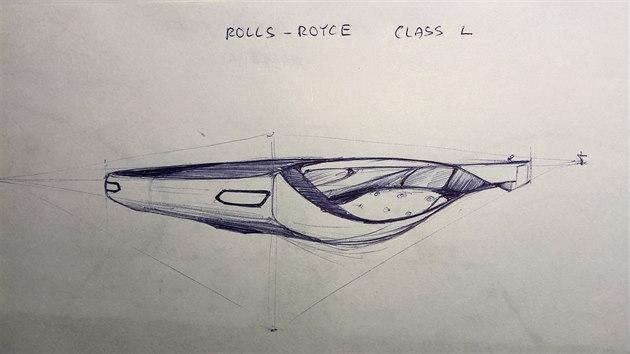 Skica českého účastníka Lukáše v soutěži dětskıch designérů vyhlášená automobilkou Rolls-Royce.