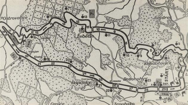 Dobová mapa trati z roku 1930