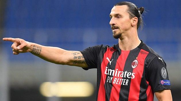 Zlatan Ibrahimovic z AC Milán během utkání Evropské ligy proti Spartě.