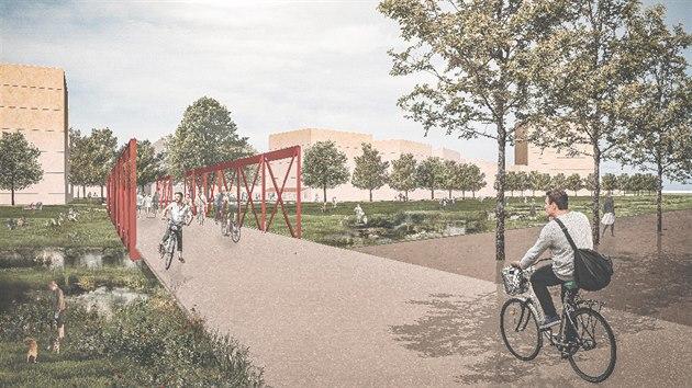 Vizualizace plánovaného sídliště Severní zóna v Hradci Králové.