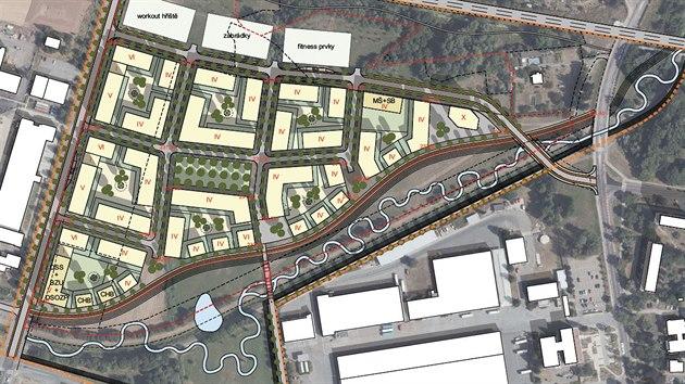 Náčrt plánovaného sídliště Severní zóna v Hradci Králové.