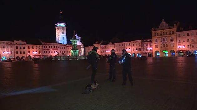 Mladík v centru Českıch Budějovic venčil plyšového psa v době zákazu vycházení.