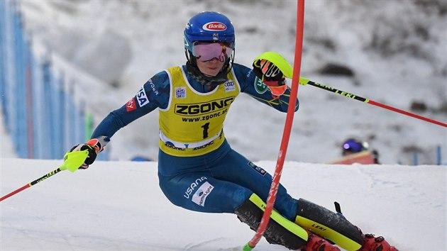 Mikaela Shiffrinová ve slalomu v Levi.