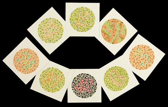 K odhalení barvosleposti se používá zkouška pomocí Ishiharovıch obrázků.