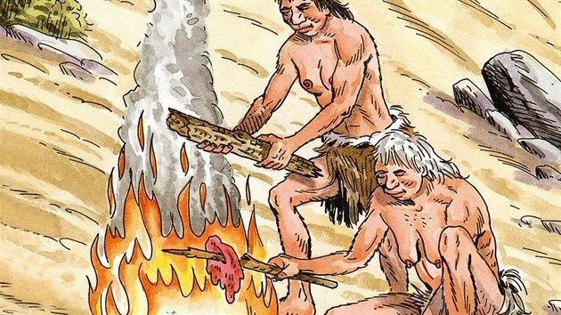 Ilustrace vaření na ohni v paleolitu