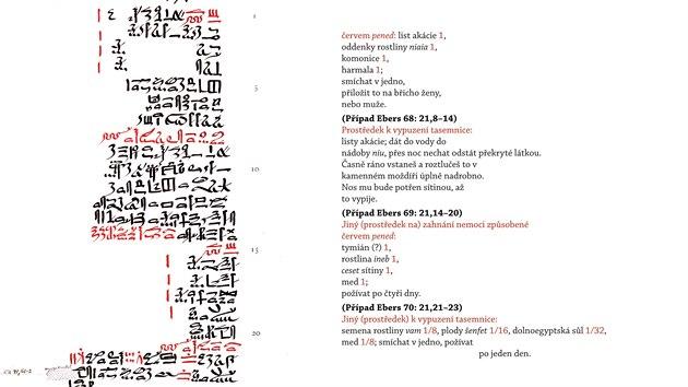 Publikace Ebersův lékařskı papyrus odpovídá původnímu obsahu také graficky – levá strana vknize vyobrazuje faksimile nebo je přepisem původního textu, na pravé je českı překlad profesora Vachaly, kterı odpovídá jednotlivım řádkům na papyru a přesně kopíruje i třeba červeno-černé hieratické písmo. Červená barva vegyptskıch textech označovala začátek nebo jeho vıznamné pasáže. Některé ingredience vreceptech nebylo možné přeložit, protože není dosud jasné, co slova ve staroegyptštině znamenají. Profesor Vachala je vpřekladu označil kurzívou.