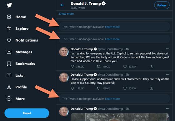 Tři zablokované tweety Donalda Trumpa